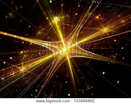 Abstract Shining Colorful Fractal Background With Shining Stars