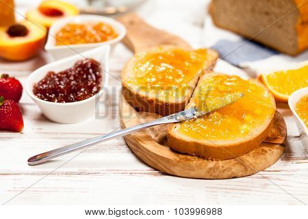 Slices of bread with jam for breakfast