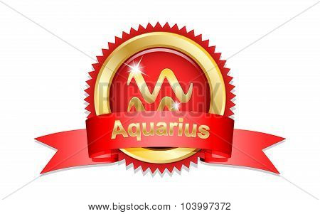 Aquarius Sign With Red Ribbon