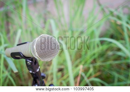 Microphone On A Stand With Blurred Green Plant, Copyspace.