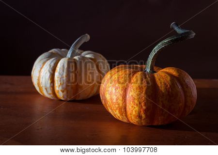 Decorative mini pumpkins or ourds on a dark background.