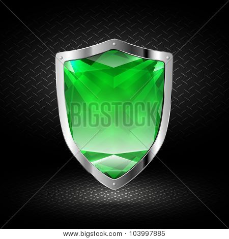 Green Crystal Shield In Chrome