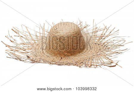 Big straw hat isolated on white background