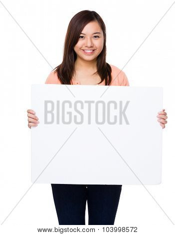 Asian woman show with the empty white board