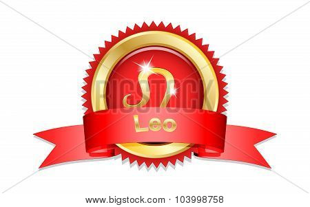 Leo Sign With Red Ribbon