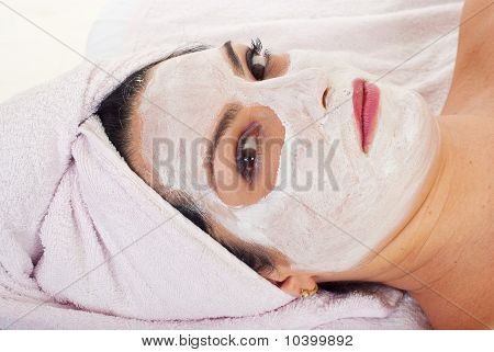Close Up Of Wman With Facial Mask