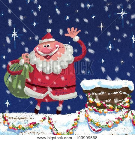 Scene Of Cartoon Santa Claus At Roof Delivering Christmas Presents