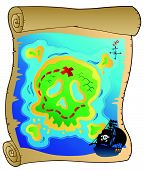 stock photo of treasure map  - Old parchment with pirate map  - JPG