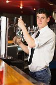 Portrait of barkeeper holding glass in front of beer dispenser at bar poster