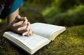 stock photo of humble  - Young woman reading bible by stream in summer - JPG