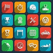 Постер, плакат: Car tools and car race icons