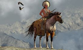 stock photo of indian chief  - Two Bald Eagles fly near an American Indian with his paint horse on a tall cliff in a mountainous area - JPG