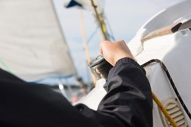 picture of sloop  - Close up of yacht equipment - JPG