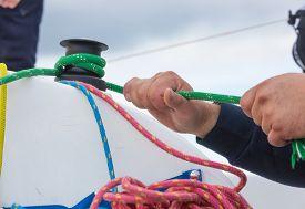 stock photo of sloop  - Close up of yacht equipment - JPG