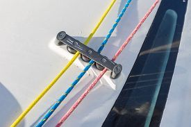 pic of sloop  - Close up of yacht equipment - JPG