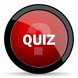 stock photo of quiz  - quiz red circle glossy web icon on white background - JPG