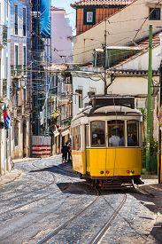 image of tram  - Vintage tram in the city center of Lisbon Lisbon Portugal in a summer day - JPG