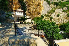 stock photo of sufi  - The Tekija a Sufi Monastery in Blagaj Bosnia and Herzegovina - JPG