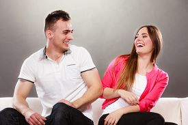 picture of fool  - Happy couple having fun and fooling around - JPG