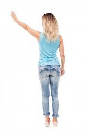 pic of waving hands  - Back view beautiful woman welcomes - JPG