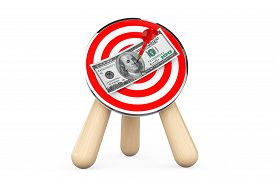 picture of archery  - Dollar Banknote in Center of Archery Target on a white background - JPG