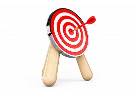 foto of archery  - Archery Target with Dart in Center on a white background - JPG