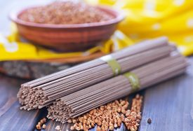 picture of buckwheat  - buckwheat noodles and buckwheat on a table - JPG