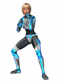 picture of cyborg  - 3D digital render of a female cyborg isolated on white background - JPG