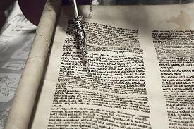 pic of torah  - Parchment font Hebrew Torah silver stick Pointer - JPG