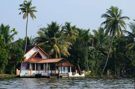 image of alleppey  - Rural church at Alappuzha backwaters - JPG