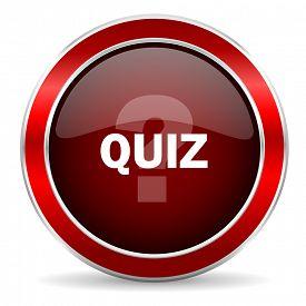 image of quiz  - quiz red circle glossy web icon - JPG