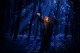 stock photo of moonlight  - Young witch at night in the moonlight forest - JPG