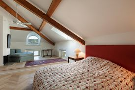 stock photo of mansion  - New bedroom of an old luxury mansion  - JPG