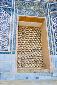 image of samarqand  - The old mosques and madrasah decorated with such beautiful islamic screens made of clay wood or metal Ulugh Beg Madrasah Samarkand Uzbekistan - JPG