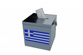 stock photo of election  - Render illustration of Greek election ballot box isolated on white - JPG