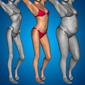 stock photo of anorexic  - Concept or conceptual 3D woman or girl as fat - JPG