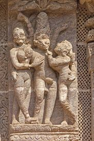 picture of kamasutra  - Famous erotic stone carving on the wall of ancient Sun temple in Konark - JPG