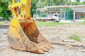 pic of backhoe  - The backhoe digger loader vehicle at outdoor - JPG