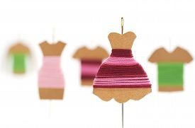 stock photo of dress mannequin  - DIY Kraft card bobbin with needle  - JPG