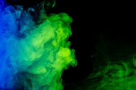 pic of hookah  - Abstract art. Colour blue-green smoke hookah on a black background. Background for Halloween. Texture fog. Design element. The concept of poison gas.