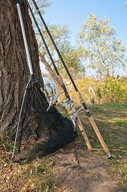 stock photo of rod  - Fishing rods with reels and landing net on the natural background - JPG