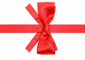 stock photo of box-end  - real red silk bow with square cut ends on ribbon isolated on white background - JPG