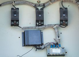 stock photo of breaker  - close up of the electric breaker equipment - JPG