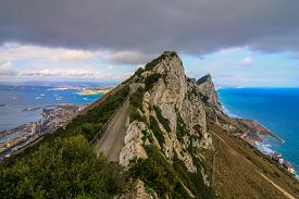image of gibraltar  - Amazing Vista from the top of the Rock of Gibraltar - JPG