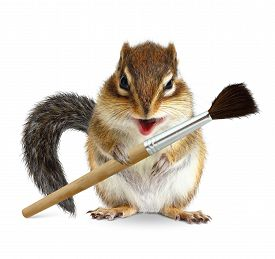 image of laughable  - Funny squirrel painter with brush on white background - JPG