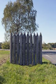 pic of stockade  - Reconstructed Limes palisade at Vielbrunn  - JPG