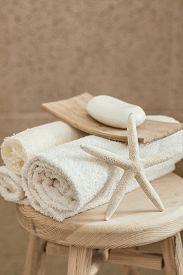 pic of stool  - Hotel bathroom decor closeup - JPG