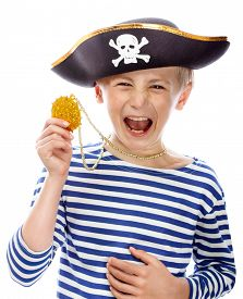 stock photo of pirates  - Close up portrait of angry pirate shouting - JPG