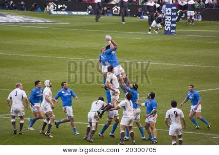 TWICKENHAM LONDON - FEB 12: Italian lineout catch at England vs Italy, England playing in white Win 59 -13, at RBS Six Nations Rugby Match on February 12, 2011 in Twickenham, England.