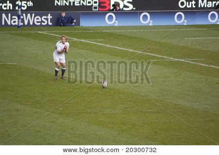 TWICKENHAM LONDON - FEB 12: Jonny Wilkinson kicking conversion at  England vs Italy, England playing in white Win 59 -13, at RBS Six Nations Rugby Match on February 12, 2011 in Twickenham, England.